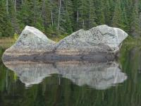 These unique rocks are in the narrows at the south end of Rock Lake. The weather stayed favourable despite the grey sky.