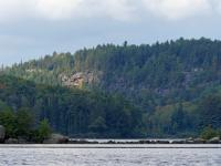 This is a telephoto view of the row of rocks that join the north island with the point to the west, where my campsite was.